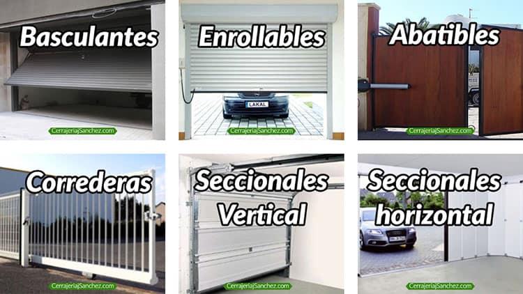 Diferentes tipos de puertas de garaje